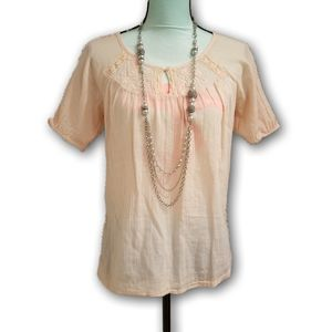 Old Navy Embroidered Ruffled Pale Orange Tunic S